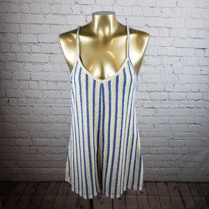 Zara Trafaluc Blue and White Striped Romper